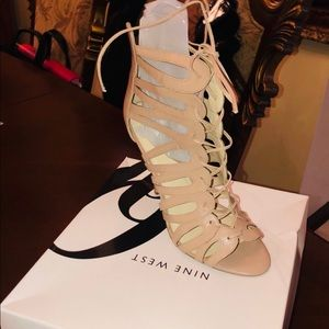 BRAND NEW WITH BOX OPEN TOED ANKLE SHOES IN BEIGE